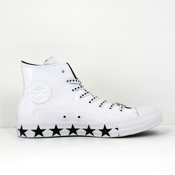 MC x Converse White Patent Leather & Stars NEW! NWT